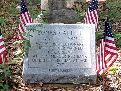 Grave marker for Jonas Cattell